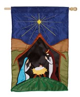 Peaceful Nativity Flag, Large