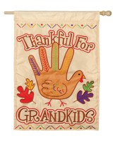 Thankful For Grandkids, Turkey Hand Flag, Large