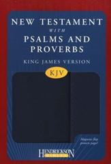 KJV New Testament with Psalms and Proverbs, imitation leather, blue, with flap closure - Slightly Imperfect