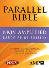 NKJV Amplified Parallel Bible Bonded Leather, Burgundy Large Print - Slightly Imperfect