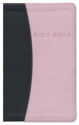 KJV Giant Print Personal Size Reference Bible--imitation leather, pink/chocolate - Imperfectly Imprinted Bibles