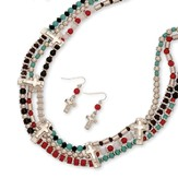 3 Row Beaded Necklace Set, Turquoise, Black, And Red