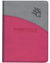 Fire Bible, Student Edition--imitation leather, gray/pink - Slightly Imperfect