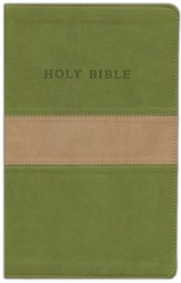 KJV Personal Size Giant Print Reference Bible, imitation leather, tan/olive - Slightly Imperfect