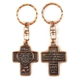 Cross with Heart, Love Never Fails Keyring
