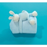 Lamb with Fleece Blanket, Blue