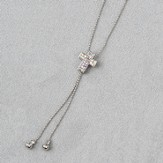 Cross Slide Necklace, Silver Stones