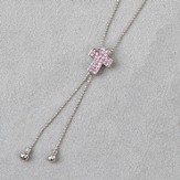 Cross Slide Necklace, Pink Stones
