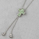 Cross Slide Necklace, Green Stones