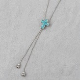 Cross Slide Necklace, Blue Stones