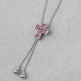 Cross Slide Necklace, Purple Stones
