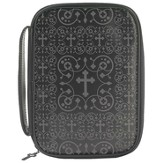 Damask Crosses Bible Cover, Black, Thinline