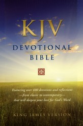 KJV Devotional Bible - Genuine Leather, Black, Red Letter