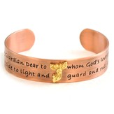 Antique Copper Prayer Bracelet, Guardian Angel