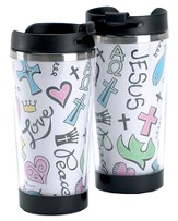 Love, Peace, Jesus Doodles Travel Mug