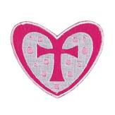 Heart with Cross, Iron On Patch