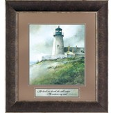 He Leads Me Beside Still Waters, Pemaquid Lighthouse Framed Art