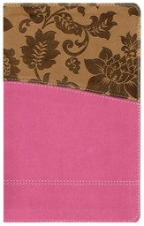 KJV Study Bible: Womens' Edition - leather-look, tan/pink Thumb-indexed - Imperfectly Imprinted Bibles