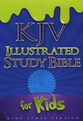 KJV Illustrated Study Bible for Kids, Blue Simulated Leather - Slightly Imperfect
