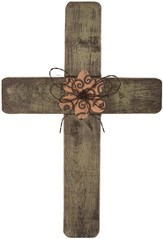 Distressed Wood Wall Cross, Green
