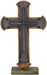 Pedestal Cross, Blue, Orange, Green