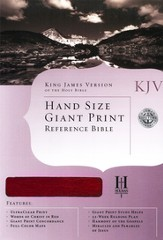 KJV Hand Size Giant Print Reference Bible, Burgundy Genuine  Leather, Thumb-Indexed
