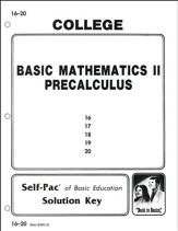 College Math 2 Solution Key 16-20, Grades 9-12