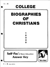 Biographies Of Christians Key 1-5, Grade 9-12
