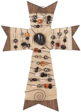 Burlap Cross with Beads, 11