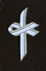 Awareness Cross Pin, White