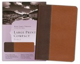 KJV Large Print Compact Bible, Dark Brown & Light Brown Simulated Leather