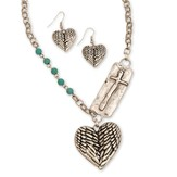 Wing And Heart Necklace Set, Silver