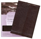 KJV Large-Print Compact Bible--imitation leather, brown with magnetic flap closure