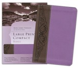 KJV Large Print Compact Bible, Brown & Purple Simulated Leather - Imperfectly Imprinted Bibles