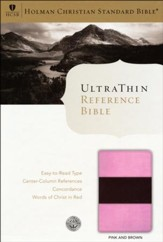 HCSB UltraThin Reference Bible, Pink & Brown Simulated Leather