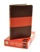 KJV Hand Size Giant Print Reference Bible, Brown & Terracotta Simulated Leather