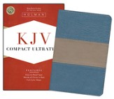 KJV Compact UltraThin Bible, Blue/taupe imitation leather