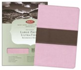 NKJV Large Print UltraThin Reference Bible, Pink/brown soft leather-look, indexed