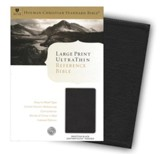 HCSB Large Print UltraThin Reference Bible, Black imitation leather, indexed