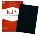 KJV Large Print UltraThin Reference Bible--bonded leather, black (indexed)