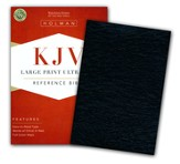 KJV Large Print UltraThin Reference Bible--genuine leather, black
