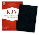 KJV Large Print UltraThin Reference Bible--genuine leather, black (indexed)