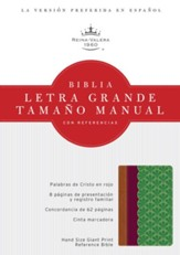 Biblia Letra Grande Tamaño Manual con Referencias, Chocolate, Ciruela, y Verde Jade Simil Piel (RVR 1960 Hand Size Giant Print Reference Bible, Chocolate, Plum, and Jade Simulated Leather)