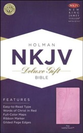 NKJV Deluxe Gift Bible, Pink LeatherTouch - Slightly Imperfect