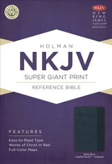 NKJV Super Giant Print Reference Bible, Slate Blue Imitation Leather, Thumb-indexed