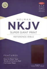 NKJV Super Giant Print Reference Bible, Burgundy Imitation Leather, Thumb-Indexed