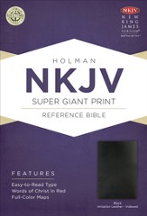 NKJV Super Giant Print Reference Bible, Black Bonded Leather, Thumb-Indexed