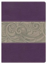 NKJV Holman Study Bible, Eggplant and Tan LeatherTouch, Thumb-Indexed - Imperfectly Imprinted Bibles
