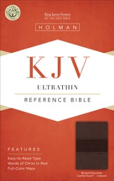 KJV UltraThin Reference Bible, Brown and Chocolate LeatherTouch, Thumb-Indexed