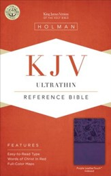 KJV UltraThin Reference Bible, Purple LeatherTouch, Thumb-Indexed